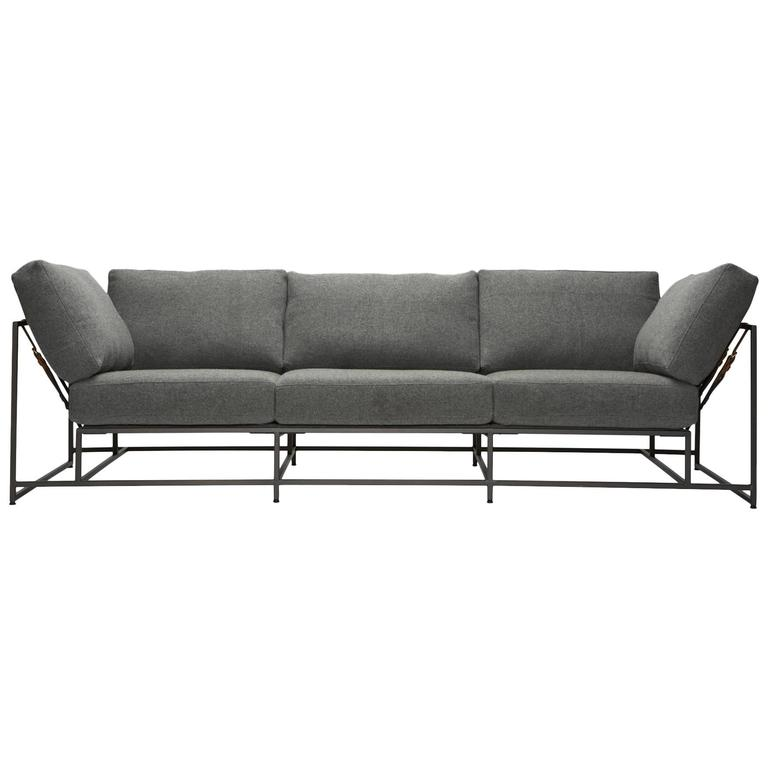 Faribault Grey Wool and Blackened Steel Sofa 1