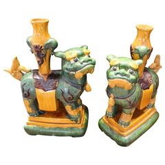 Pair of Chinese Ceramic Foo Lion Dogs
