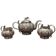 Anglo-Indian Sterling Silver Tea Set