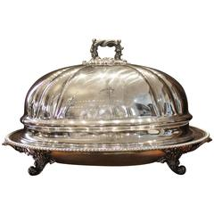 Georgian Sheffield Silverplated Meat Tray with Domed Lid by T&J Creswick