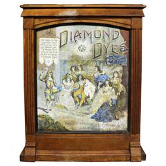 Diamond Dyes Store Counter Display Cabinet and Advertising Sign