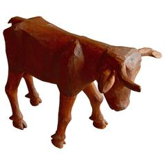 Primitive Hand-Carved Folk Art Bull