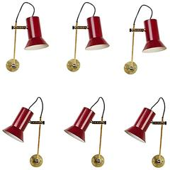 Six Articulating Sconces by Tito Agnoli for Oluce