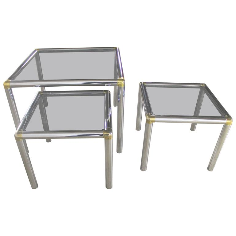 Tubular Chrome Brass And Smoke Glass Trio Of Cocktail Or End Table For Sale
