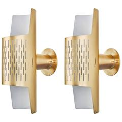 Pair of Perforated Brass Sconces by Ateljé Lyktan