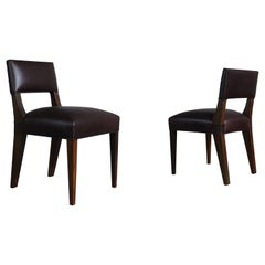Bruno Low Side Chair in Argentine Rosewood and Leather from Costantini