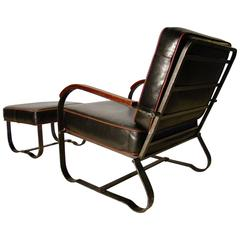 Elusive Art Deco Machine Age Steel Lounge Chair and Ottoman by McKay