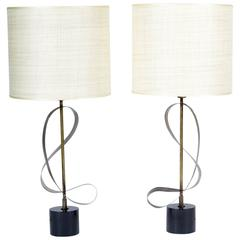 Pair of Italian Mid-20th Century Table Lamps Knurled Curved Brass