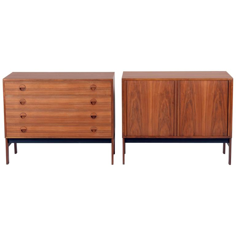 Pair of Danish Mid-20th Century Teak Wood Chest and Credenza, Signed