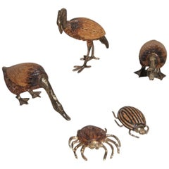 Animals and Insects 1970s Wood and Brass Design