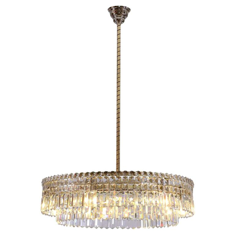 Oswald Haerdtl Lobmeyr Midcentury Large Crystal Chandelier, 1950 For Sale