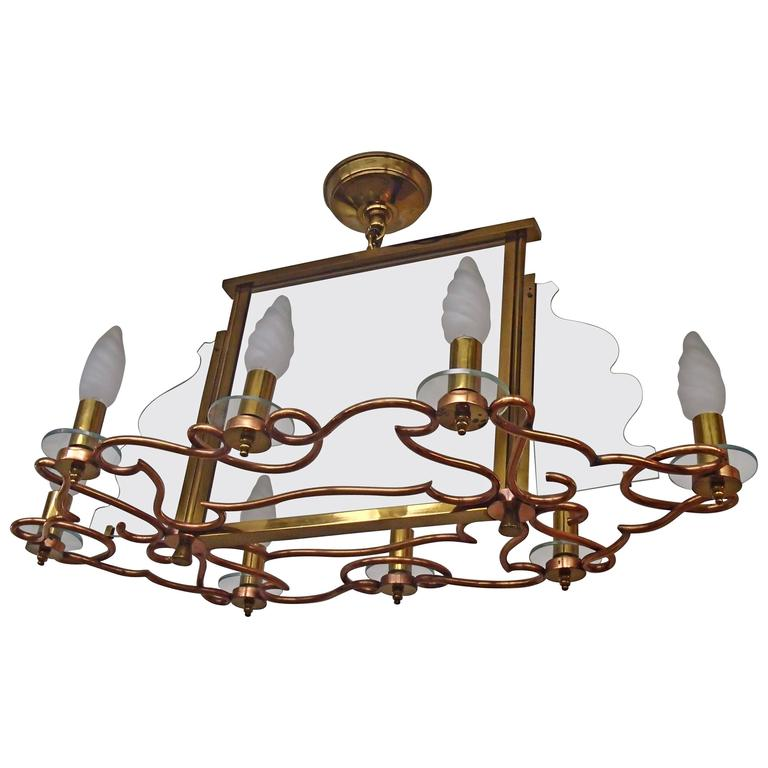 1940 Huge Decorative Copper Brass and Graved Glass Chandelier