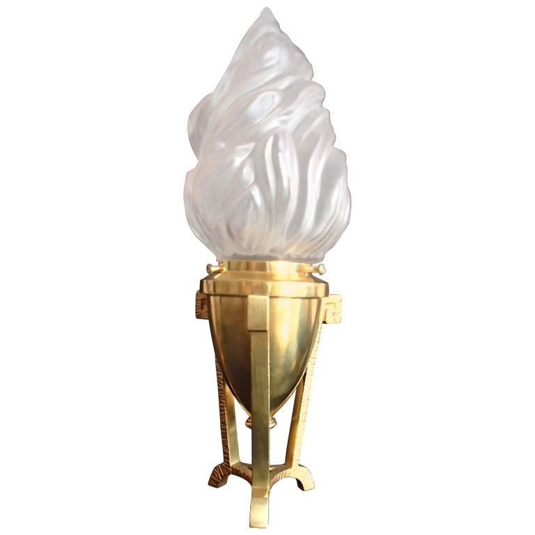 Small Decorative Lamp: Small Decorative Three Leg Brass Table With Torch Satin