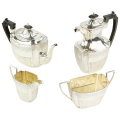 Tea and Coffee Set, England, Sheffield in 1891, 925 Sterling Silver, Hallmarked
