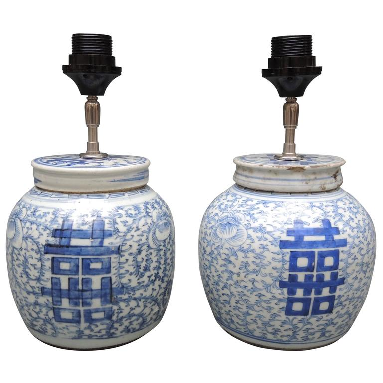 Pair of Antique Chinese Blue and White Porcelain Ginger Jar Lamps