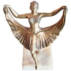 Beautiful Ballerina Bronze Figurine with Magic Skirt