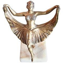 Beautiful Ballerina Bronze Figurine with Magic Skirt