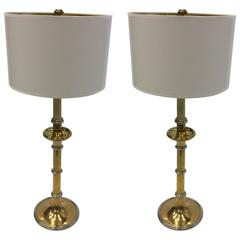 Pair Of Elegant Brass And Chrome Table Lamps By Chapman