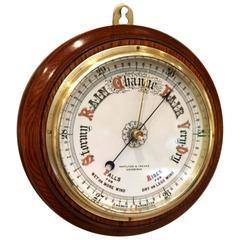 Circular Oak Aneroid Barometer