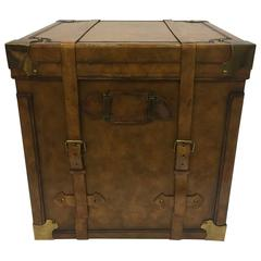 Handsome Maitland-Smith Leather Trunk