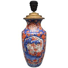 Antique Japanese Imari Vase Converted into a Lamp