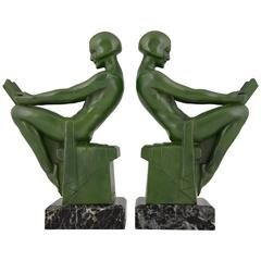 French Art Deco Bookends with Reading Nudes by Max Le Verrier, 1930