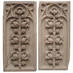 Pair of 18th Century Flemish Carved Bleached Oak Gothic Panels with Branches
