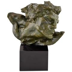French Art Deco Bronze Sculpture Bust of a Man, Le Rhone by Vermare, 1920