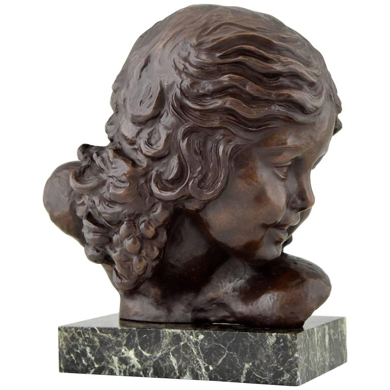 Art Deco Bronze Bust of a Girl by Alexandre Kelety, 1930 France For Sale