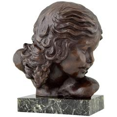 French Art Deco Bronze Bust of a Girl by Alexandre Kelety, 1930