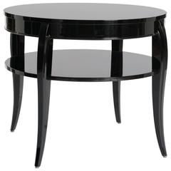 French Art Deco Gueridon, Black Lacquer, Bow Legs