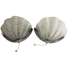 Pair of French Art Deco Sconces with Stylized Shell Design