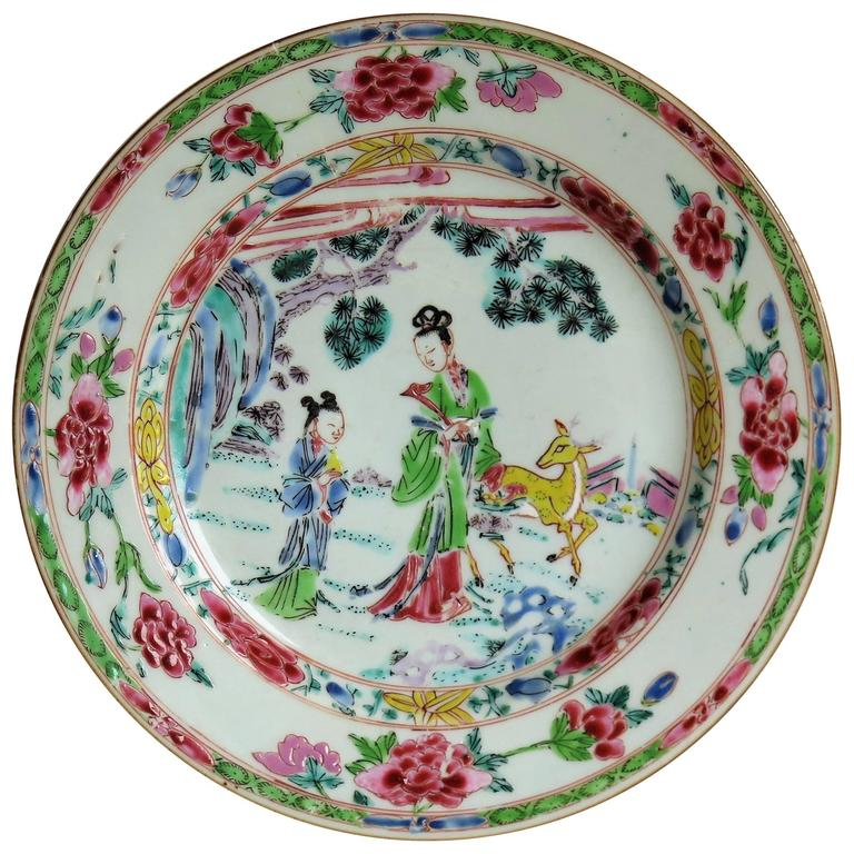 Chinese Porcelain Plate Famille-Rose Figures and Deer, Yongzheng, circa 1730