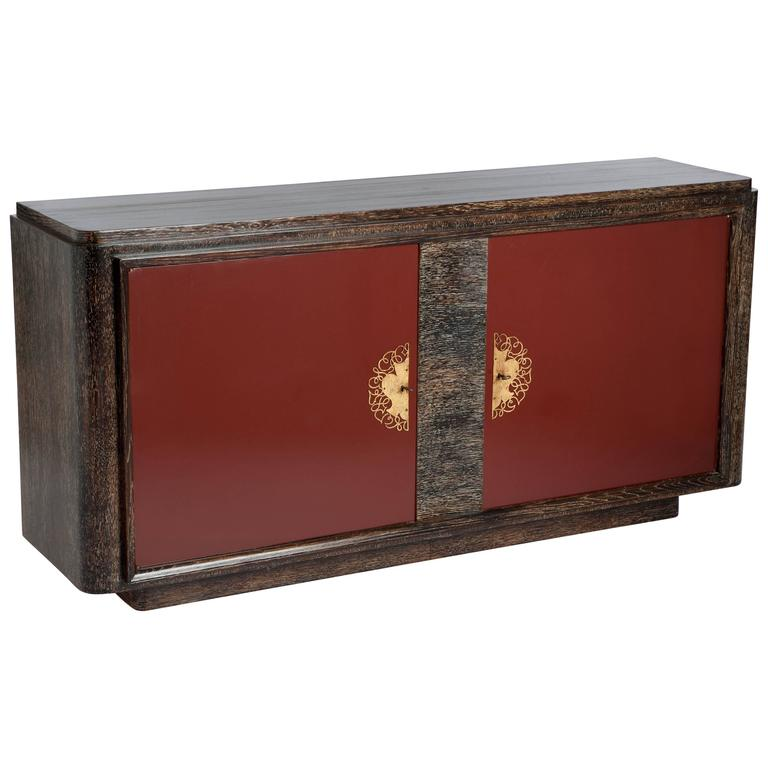 French Art Deco Sideboard Oak Ceruse With Red Lacquered Front Doors For Sale