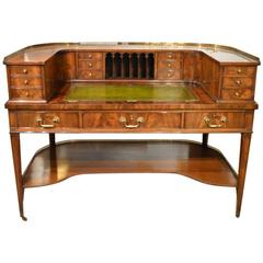 Fine Quality George III Style Flamed Mahogany Carlton House Desk