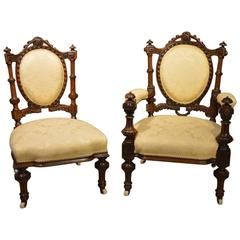 Stunning Quality Carved Walnut Victorian Period Ladies and Gents Chairs