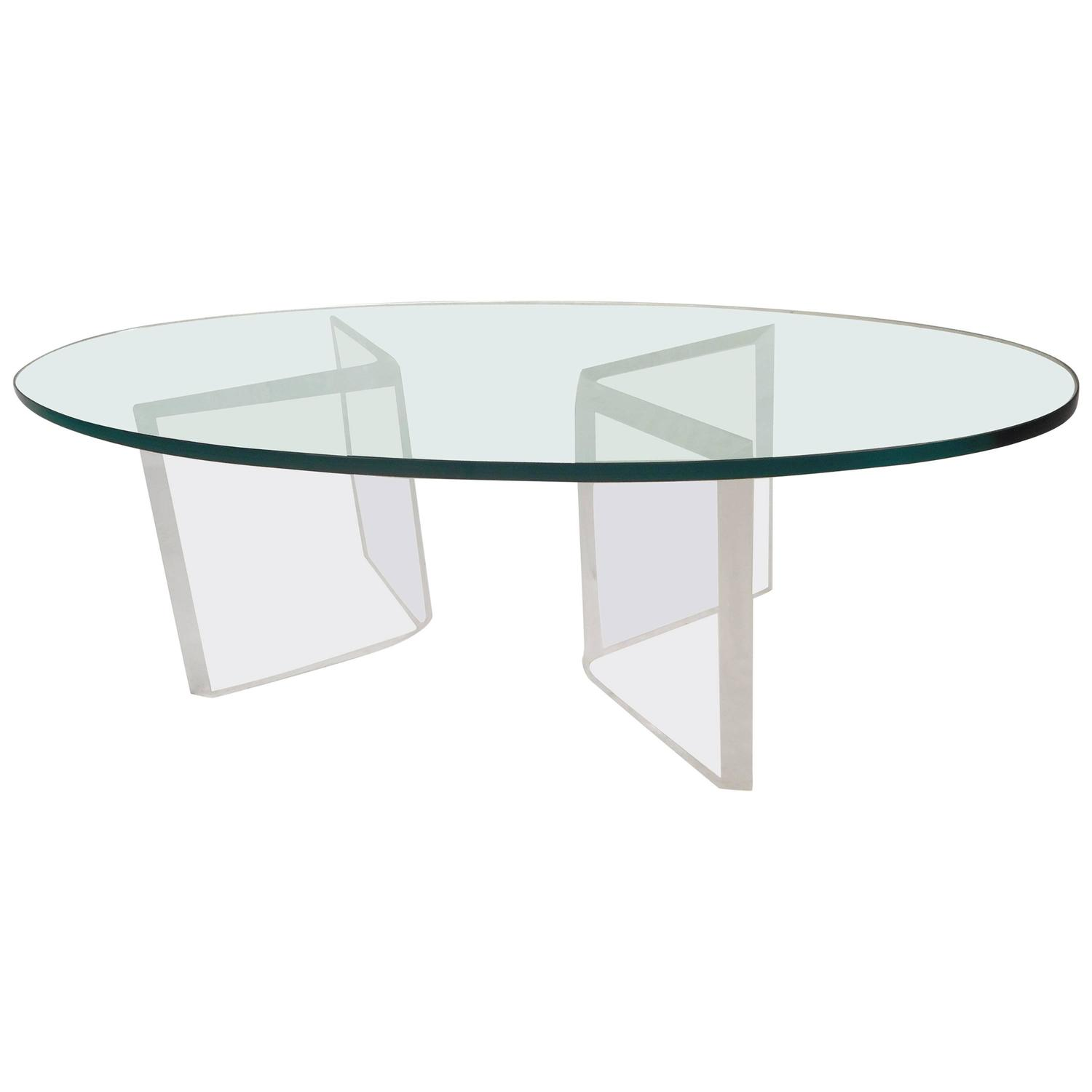 Mid Century Modern Oval Glass and Lucite Coffee Table For Sale at