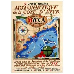 Original Vintage French Riviera Sport Poster, 3rd Powerboat Festival Cote d'Azur