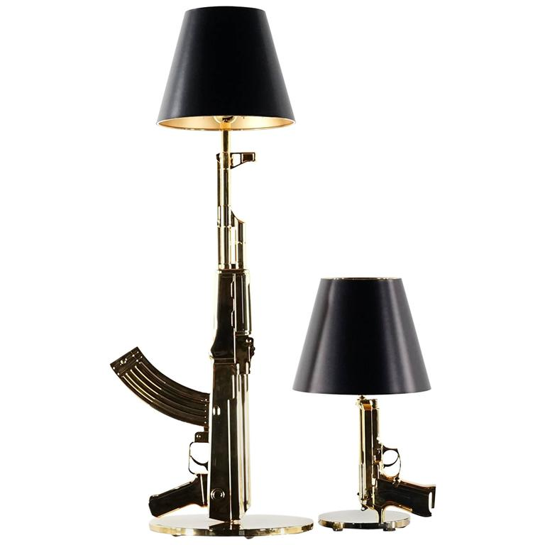philippe starck bedside gun lamp flos 18 karat gold at 1stdibs. Black Bedroom Furniture Sets. Home Design Ideas