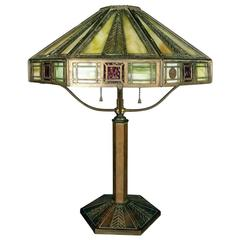 Bradley & Hubbard Arts & Crafts Slag Glass Lamp with Stylized Feather Motif