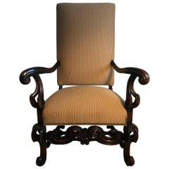 Louis XIII Style Fauteuils 19th Century Throne Armchair