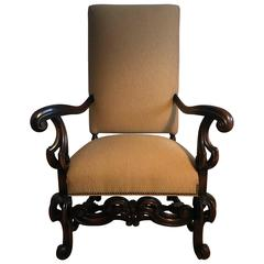 Louis XIII Style Fauteuils 19th Century Throne Armchair
