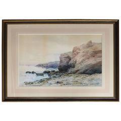 Antique Watercolor Oversized Seascape by Hardwick, circa 1910