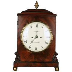Antique English Georgian Mahogany Bracket Clock with Bronze Mounts by Haskell