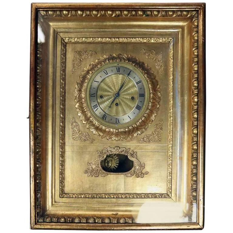 Antique Viennese Gold Giltwood Picture Frame Sonnerie Wall Clock