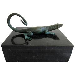 Black Tessellated Maitland Smith Box with Lizard