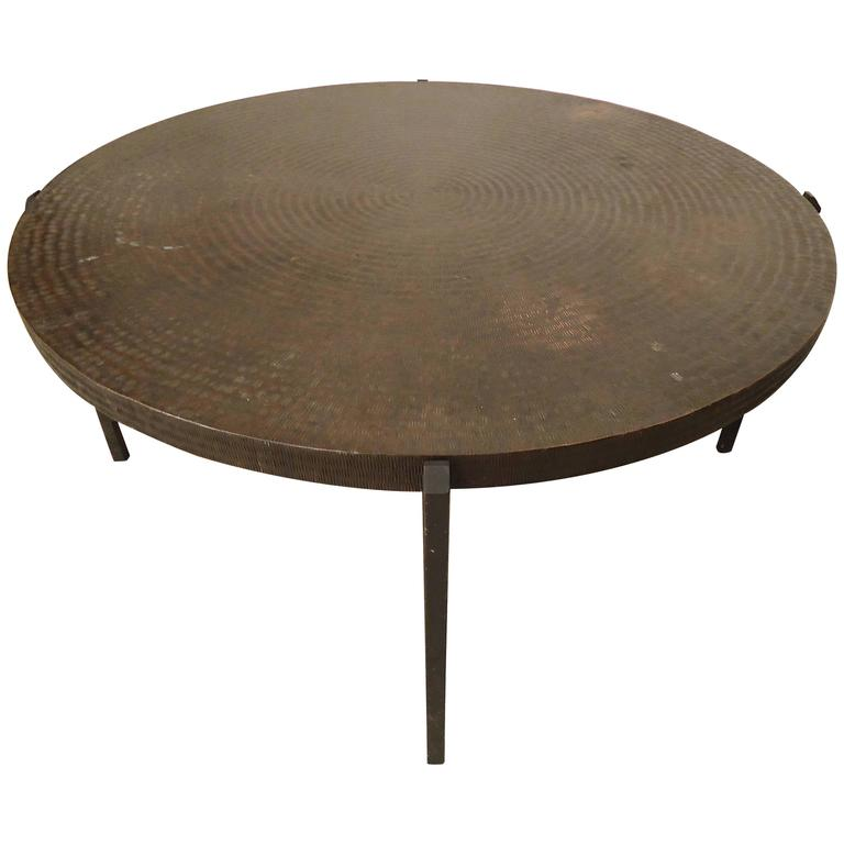Pickford Coffee Table Bronze: Bronze Table With Hammered Design For Sale At 1stdibs