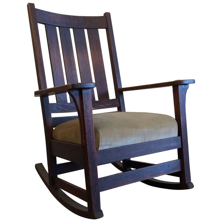 original l jg stickley mission rocking chair oak for sale at 1stdibs. Black Bedroom Furniture Sets. Home Design Ideas