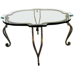 Maison Ramsey Glass and Gilt Iron Cocktail Table