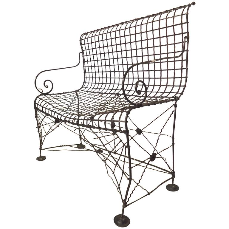 Decorative Wrought Iron Bench For Sale